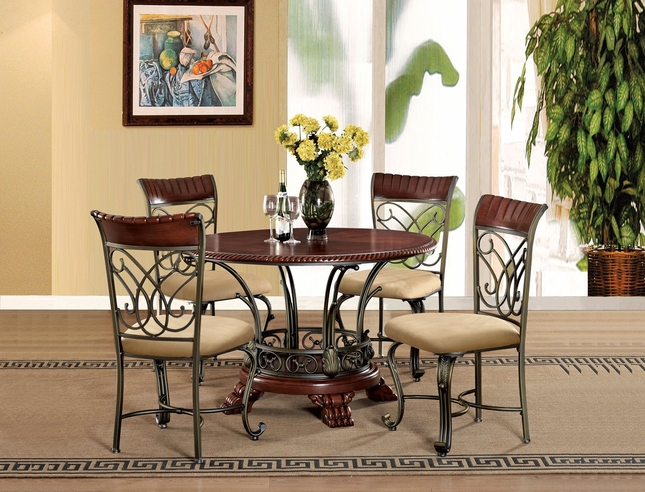 "Obasi 5-pc Casual Round 48"" Cherry Finished Dining Table Set w/ Bronze Base"