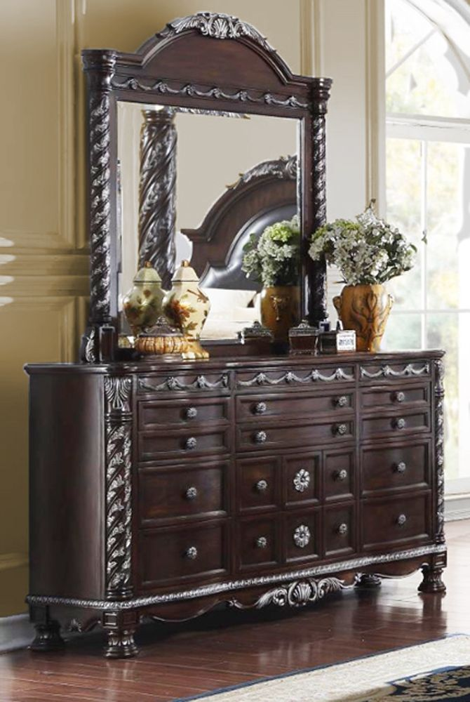 Bedroom Packages: Omar Traditional Cherry Canopy Bedroom Set With Carved