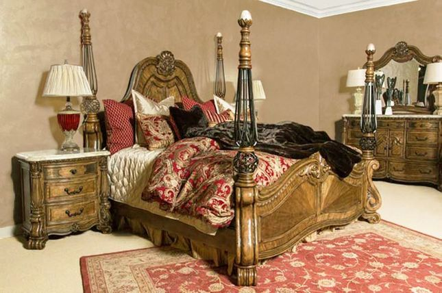 Michael Amini Eden S Paradise Luxury Poster Bed Carved Wood Bedroom Set