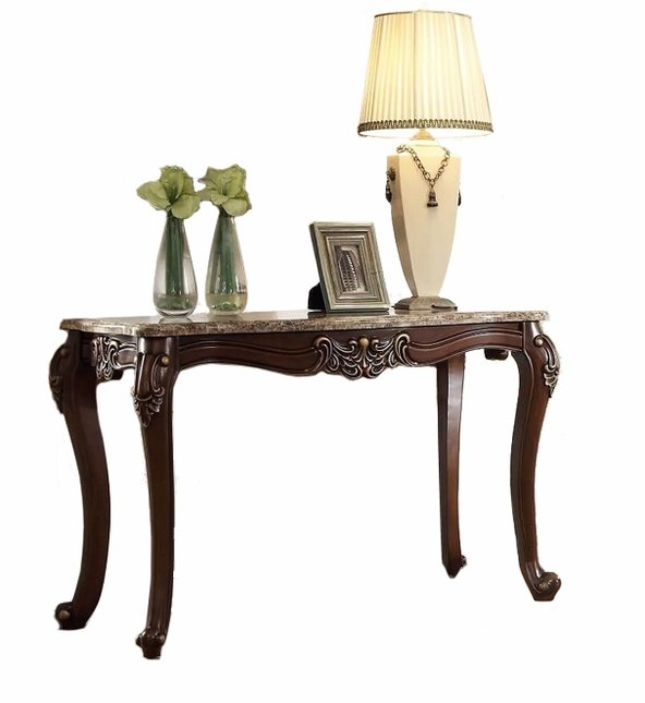 Opulent Traditional Sofa Table W Granite Top Cabriole Legs