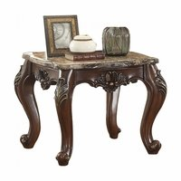 Opulent Acanthus Leaf Traditional Style End Table Marble Top Cabriole Legs
