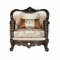 Opulent Fabric Wing Back Arm Chair Solid Wood Frame Dark Finish