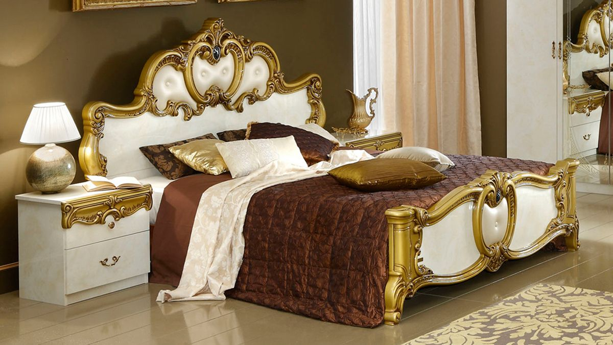 Antique white bedroom furniture queen mansion bed - Traditional white bedroom furniture ...