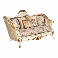 Ornate Traditional Luxury Upholstered Loveseat In Antique White & Gold