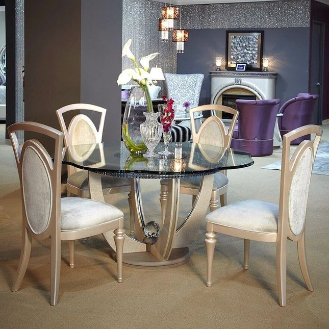 Overture Glamour 5pc 60 Round Glass Dining Table Set In Cristal Beige