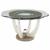 """Overture Glamour 60"""" Shaped Glass Beige Dining Table with Crystal Accents"""