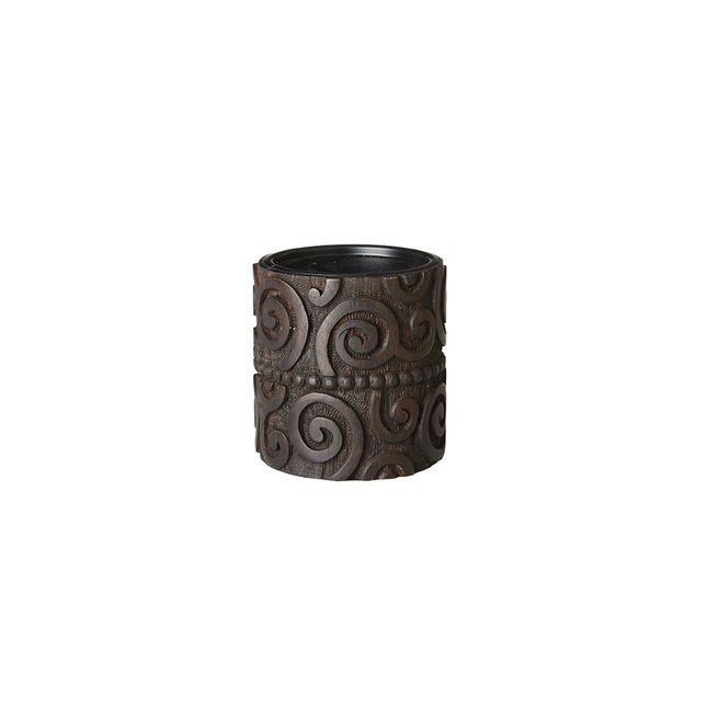 Pacheco Candle Holder Solid Wood,Iron Brown Neutral Transition INK+IVY II164-939