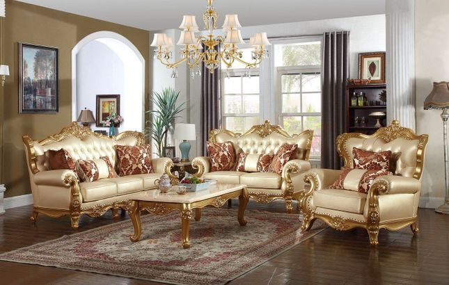 Paloma Traditional Pearl Beige Bonded Leather Sofa & Loveseat w/ Gold Finish
