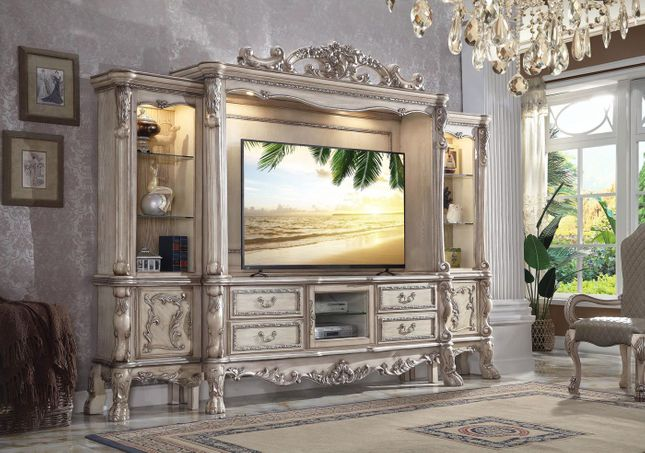 Traditional Antique White Entertainment Center TV Console Wall Unit