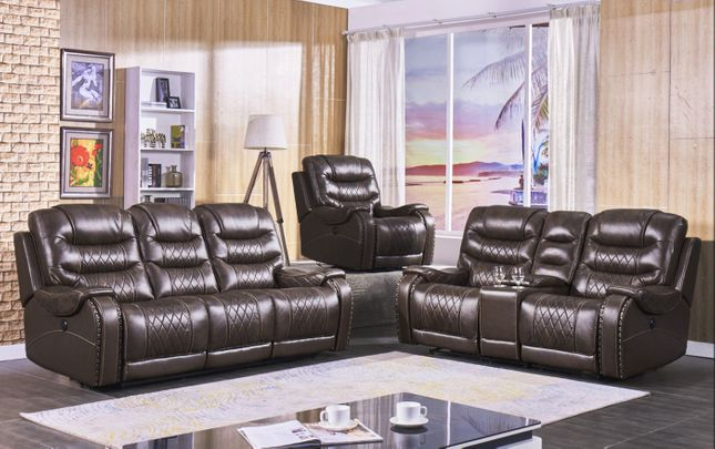 Brown Leather Air Power Reclining Sofa & Loveseat Set Nailhead Accents