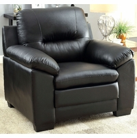 Parma Contemporary Plush Cushioned Arm Chair in Black Leatherette Upholstery