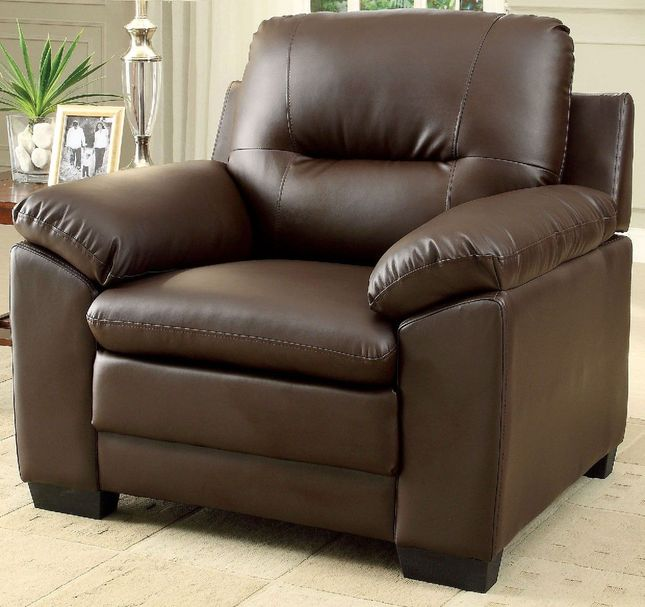 Parma Contemporary Plush Cushioned Arm Chair in Brown Leatherette Upholstery