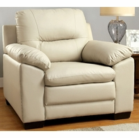 Parma Contemporary Plush Cushioned Arm Chair in Ivory Leatherette Upholstery