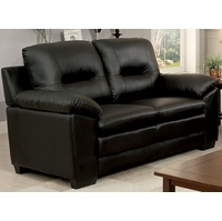 Parma Contemporary Plush Cushioned Loveseat in Black Leatherette Upholstery