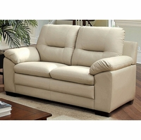 Parma Contemporary Plush Cushioned Loveseat in Ivory Leatherette Upholstery