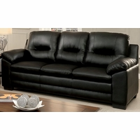 Parma Contemporary Plush Cushioned Sofa in Black Leatherette Upholstery