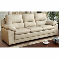 Parma Contemporary Plush Cushioned Sofa in Ivory Leatherette Upholstery