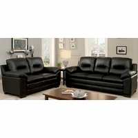 Parma Contemporary Plush Sofa & Loveseat Set in Black Leatherette Upholstery