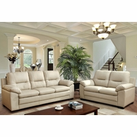 Parma Contemporary Plush Sofa & Loveseat Set in Ivory Leatherette Upholstery