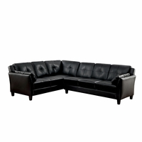 Peever Contemporary Tufted Cushion Sectional in Black Leatherette Upholstery