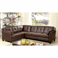 Peever Contemporary Tufted Cushion Sectional in Brown Leatherette Upholstery