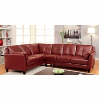 Peever Contemporary Tufted Cushion Sectional in Red Leatherette Upholstery