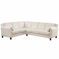Peever Contemporary Tufted Cushion Sectional in White Leatherette Upholstery