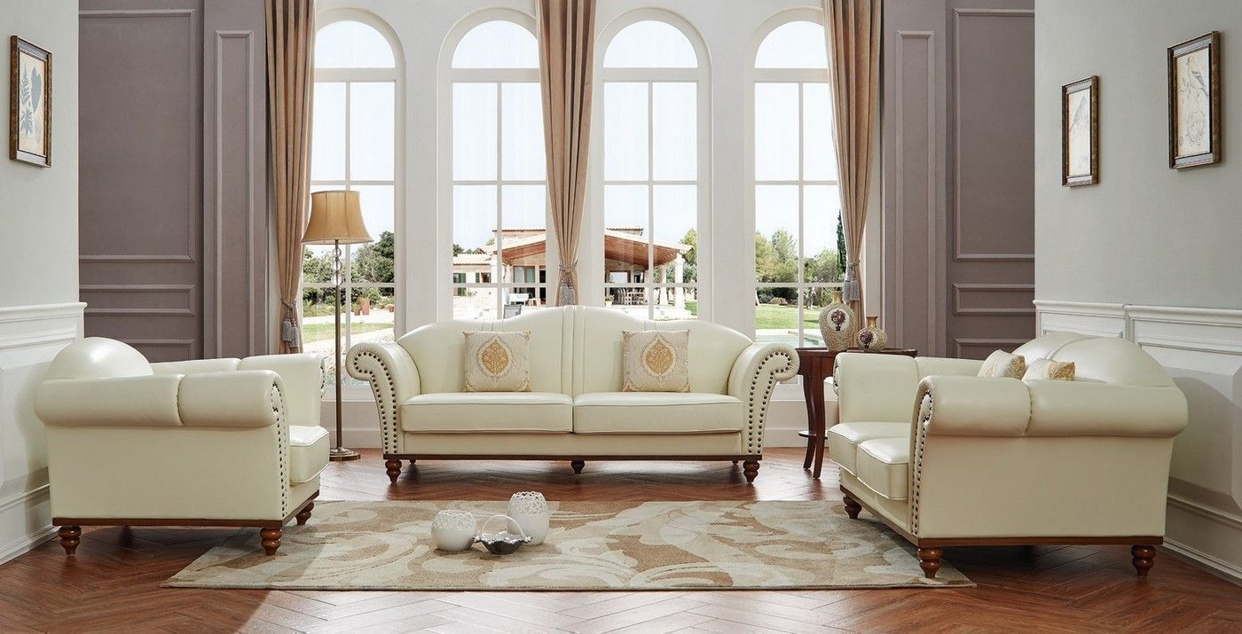 Pesaro Transitional Ivory Leather Match Camelback Sofa