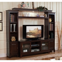Phineas Transitional Television Entertainment Center in Merlot Finish