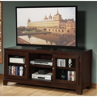 Phineas Transitional TV Stand with Media Storage in Merlot Finish