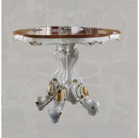 """Picardy 48"""" Round Counter Height Dining Table Pearl White & Gold Finish"""