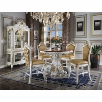 """Picardy Carved Wood 5pc 48"""" Counter Height Dining Table Set White & Gold"""