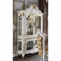 Picardy Luxury Ornate Formal Dining Curio Cabinet In Pearl White & Gold