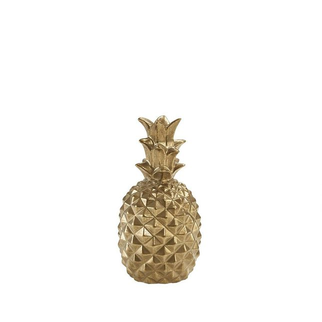 Pineapple Decor Tropical Ceramic Pine Apple Figurine in Antiqued Gold Plated Finish