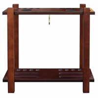Carmelli Classic Floor Billiard 10 Count Pool Cue Rack in Antique Walnut Finish