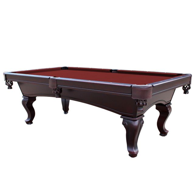 Monterey Queen Anne 8-Ft Slate Pool Table w/Burgundy Felt in Mahogany Finish