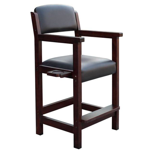 Cambridge Billiards Spectator Chair in Black Leatherette and Mahogony Finish