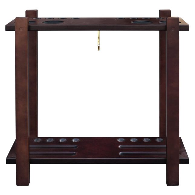 Carmelli Classic Floor Billiard 10 Count Pool Cue Rack in Mahogany Finish