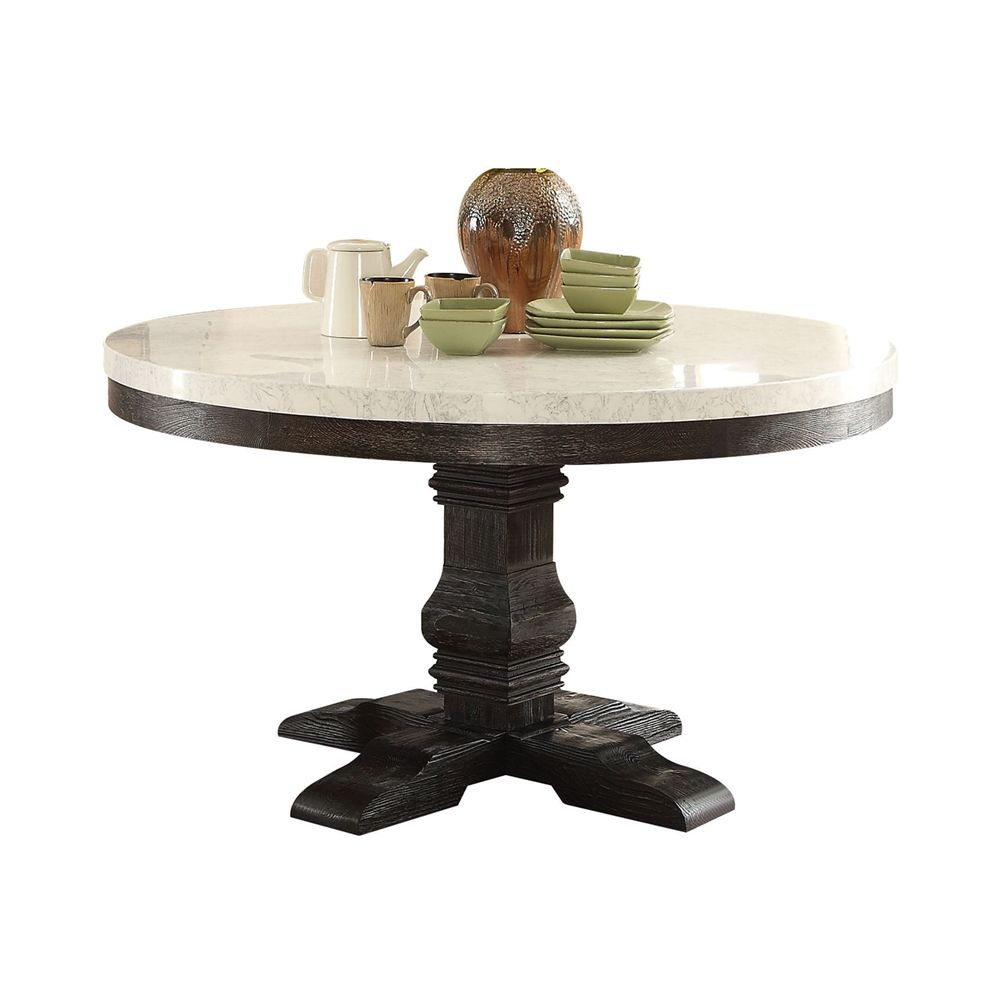 Prescott 54 Quot Round White Marble Top Pedestal Dining Table