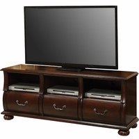Prescott Traditional Dark Cherry TV Stand with Serpentine Drawer Fronts
