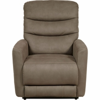 Berkley Mosaic Truffle Lift Chair w/Power Headrest & USB, Brown Faux Leather Upholstery