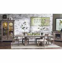 Prospect Hill Expandable 5pc Pedestal Dining Table Set In Weathered Grey  Finish