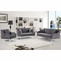Raleigh Button Tufted Grey Velvet Sofa & Loveseat Set, Slope Arms & Acrylic Legs