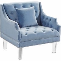 Raleigh Button Tufted Sky Blue Velvet Chair with Sloped Arms & Acrylic Legs