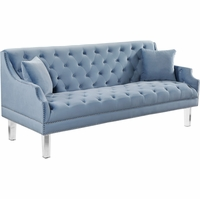 Raleigh Modern Button Tufted Sky Blue Velvet Sofa w/Sloped Arms & Acrylic Legs