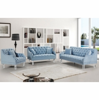 Raleigh Tufted Sky Blue Velvet Sofa & Loveseat Set, Sloped Arms & Acrylic Legs