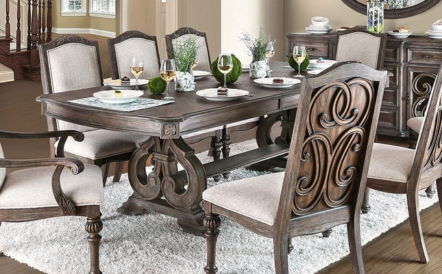 Rustic Dining Table Set | Double Pedestal Dining Table