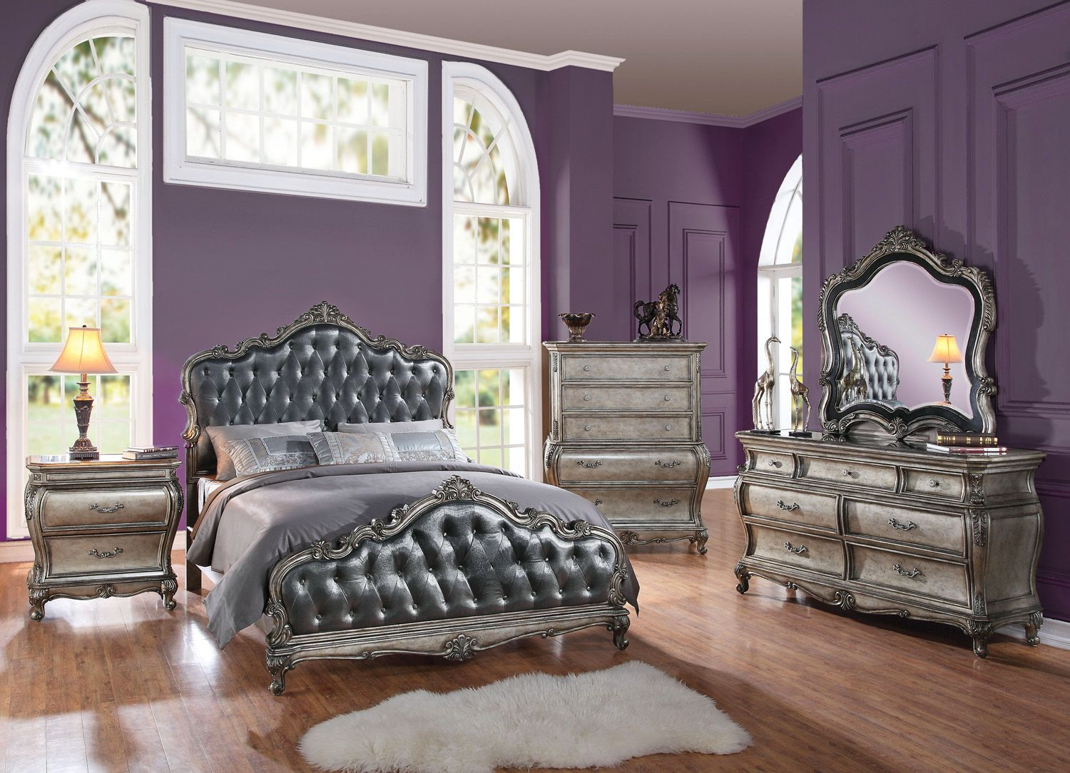 roma french rococo crystal tufted 4-piece queen bedroom set antique silver