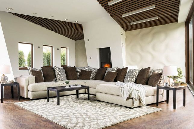 Romilly Contemporary Horseshoe Shaped Sectional Sofa in Beige Linen