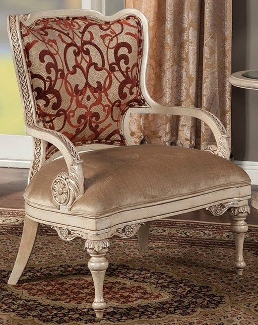 Rosabella Beige & Red Patterned Fabric Accent Chair with Exposed Wood Frame